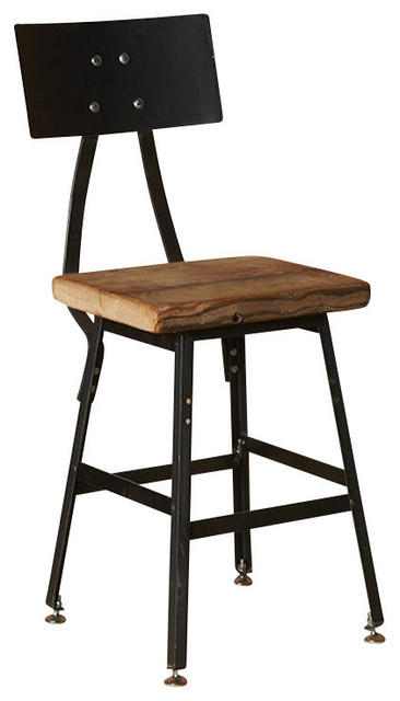 Urban Design Reclaimed Wood Barstool With Steel Back 18  bar-stools-and  sc 1 st  Houzz : wooden bar stool with back - islam-shia.org
