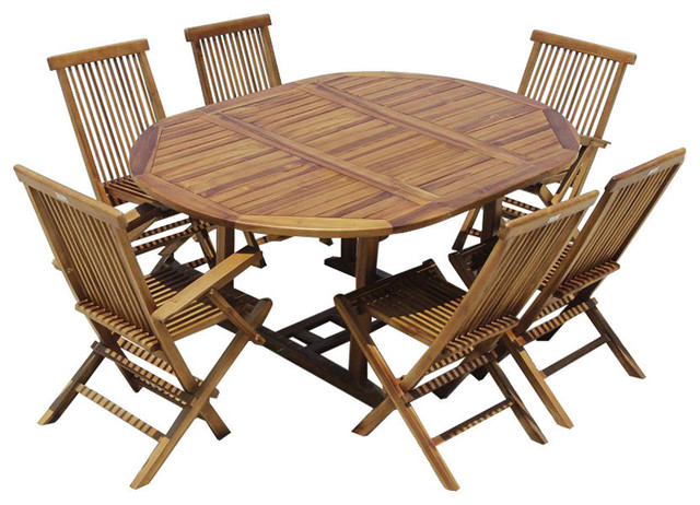 Bali Teak Outdoor Extendable Dining Table, Round, 6 Chairs