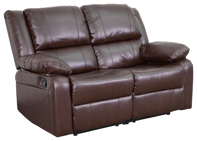 Leather Loveseat With 2 Built-In Recliners.