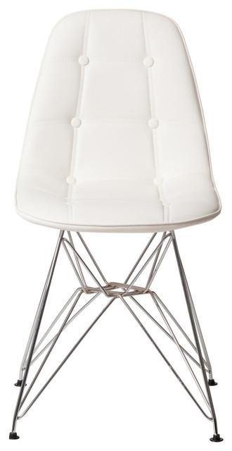 Wondrous Midcentury Modern Tufted Side Chair With Chrome Legs White Machost Co Dining Chair Design Ideas Machostcouk