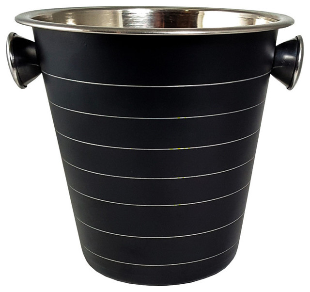 Spade Black 5-Quart Stainless Steel Wine and Ice Bucket