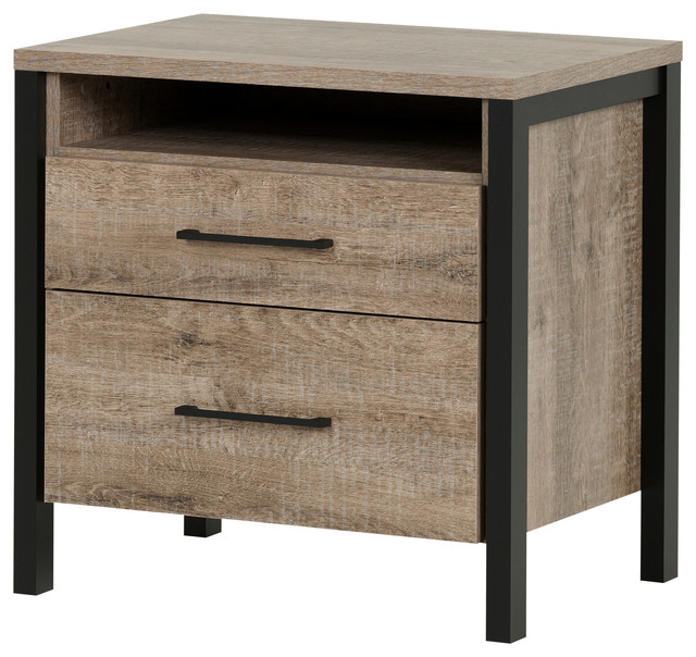 Munich Nightstand, Weathered Oak And Matte Black Farmhouse Nightstands And  Bedside
