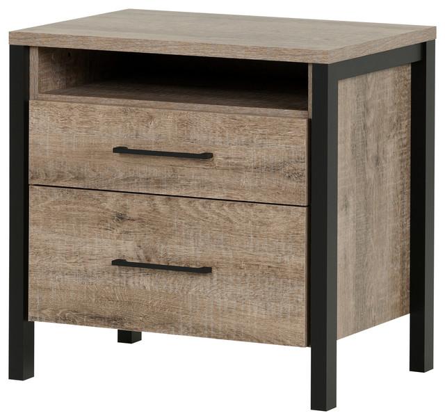 munich nightstand weathered oak and matte black andbedside