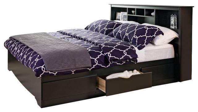 Prepac Black Sonoma King Bookcase Platform Storage Bed  sc 1 st  Houzz & Prepac Black Sonoma King Bookcase Platform Storage Bed ...