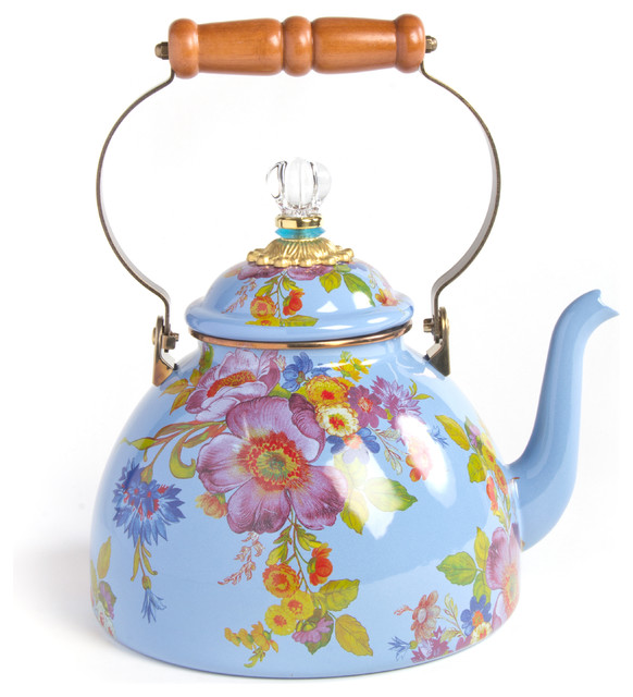Flower Market Enamel 3 Quart Tea Kettle Blue Mackenzie Childs
