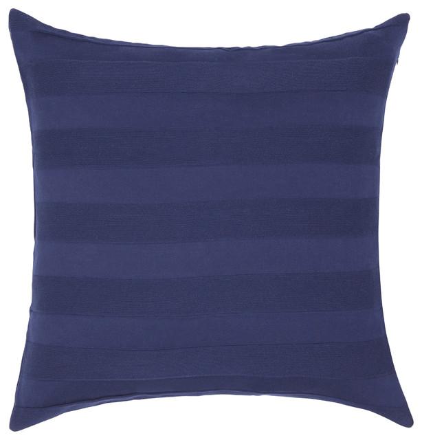 Falcun Striped Cotton Pillow Cover, Navy.