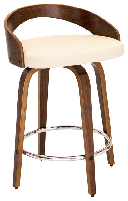 Grotto Mid Century Modern Counter Stool Walnut Wood