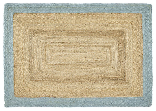 Origins Jute Jute Border Duck Egg Rectangular Rug, 160x230 cm