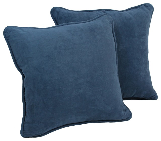 18u0026quot; Solid Microsuede Square Throw Pillow Inserts, Set of 2, Aqua Blue - Decorative Pillows - by ...