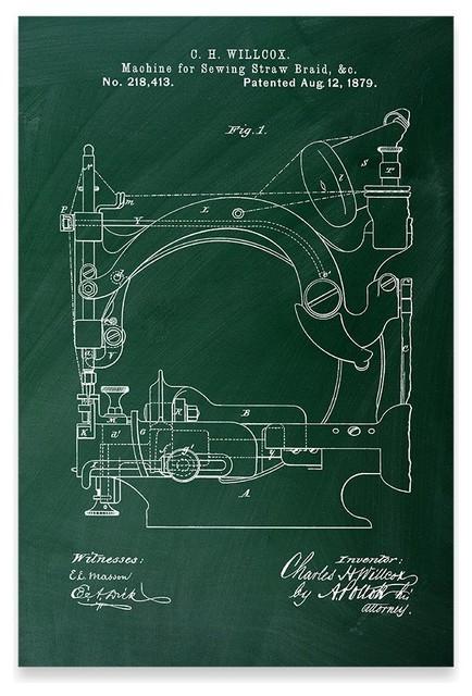 Straw Braid Sewing Machine Poster Patent Art Print