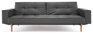 """Innovation"" Splitback Black Leather Textile Sofa Bed Arms Dark Wood Legs Contemporary"
