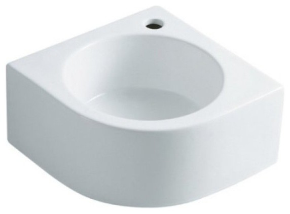 White Manhattan White China Vessel Bathroom Sink with Faucet Hole EV1094