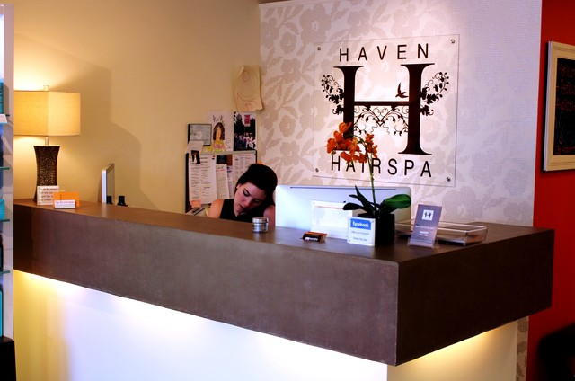Haven hair salon reception desk new york by surface for Actual beauty salon
