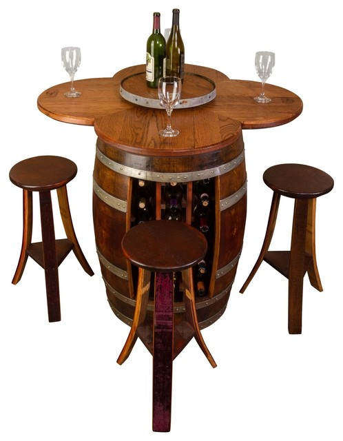 Wine Barrel Table Set With Rack Base Rustic Indoor Pub
