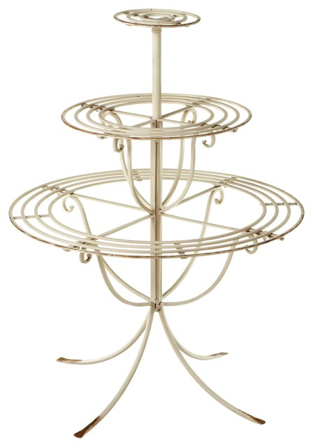 3 Tiered Iron Plant Stand Ivory Traditional Plant