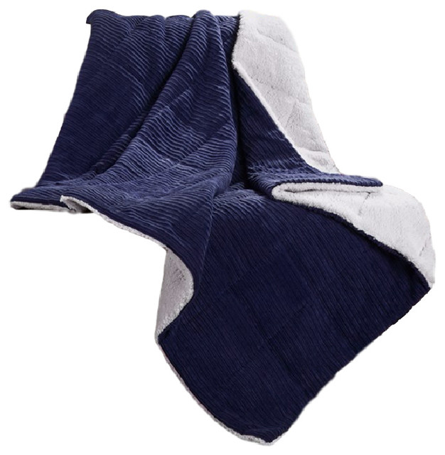 Jackson Corduroy/berber Alternative Throw, Blue.