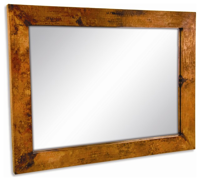 Large Rectangular Wall Mirror large rectangle copper mirror - wall mirrors -timeless wrought