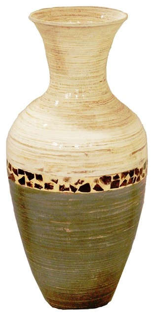 Terry 25 Spun Bamboo Floor Vase White And Gray With Coconut Shell