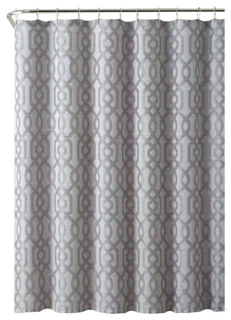 Madrid Geometric Fabric Shower Curtain Gray