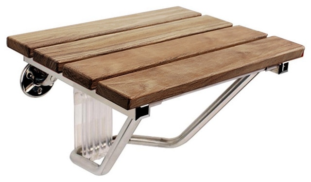 Wall Mount Footrest : F wood folding wall mounted shower seat bench by steamspa