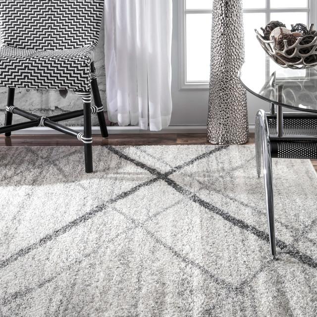 Contemporary Striped Polypropylene Rug, Gray, 5'x8'