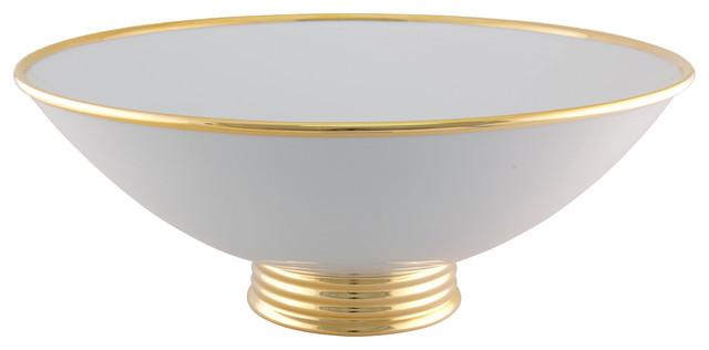White Decorative Bowl Gorgeous Maison Alma  Arienne Center Bowl White & 24K Gold  View In Your Decorating Design
