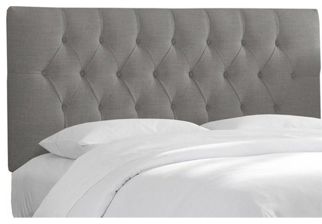 Upholstered Tufted Panel Headboard, Gray, King.