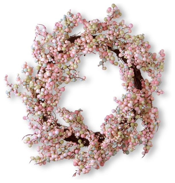 "15.75"" Light Pink Wreath."