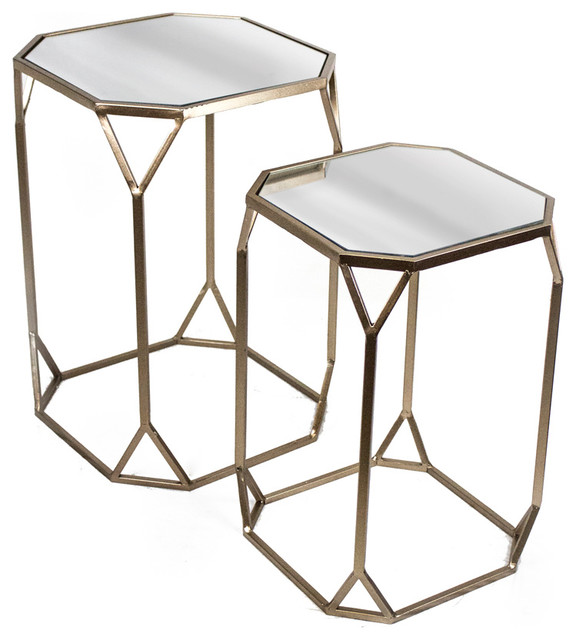 Sagebrook Home Set Of 2 Tables Metal And Mirror Coffee Table Sets Houzz