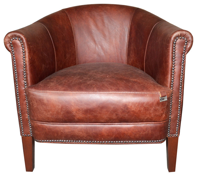 Brown Studded Leather Armchair - Rustic - Armchairs ...