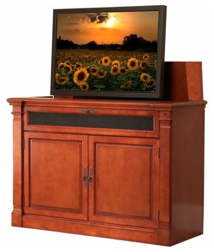 "Adonzo Distressed Cherry TV Lift Cabinet for Flat Screen up to 60"" - Traditional - Entertainment ..."