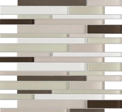 Sample Red Brown Mini Brick Crystal Glass Mosaic Tile: Zen Cryess Brown 12x12 Mesh-Mounted Glass Mosaic Tile