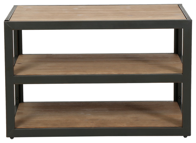 Lundin 3 Shelf Industrial Media Console Industrial Console Tables
