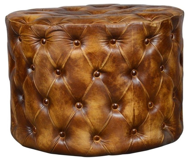 Top Grain Leather Ottoman Coffee Table Transitional Footstools And Ottomans By Seventhstaretail
