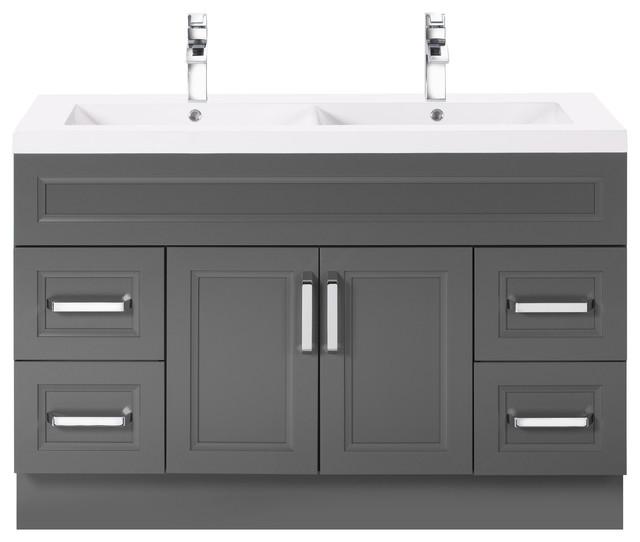 Bathroom Sinks Double Basin sundown 48'' contemporary vanity 2 door 4 drawer with double bowl