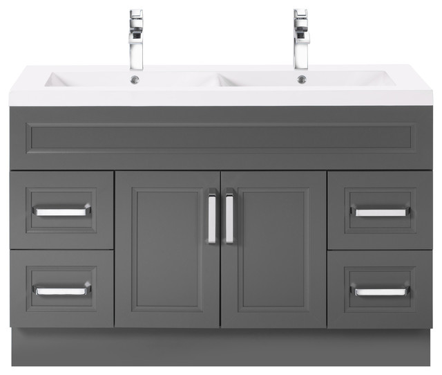 Sundown 48 Contemporary Vanity 2 Door 4 Drawer With Double Bowl Top By Cutler