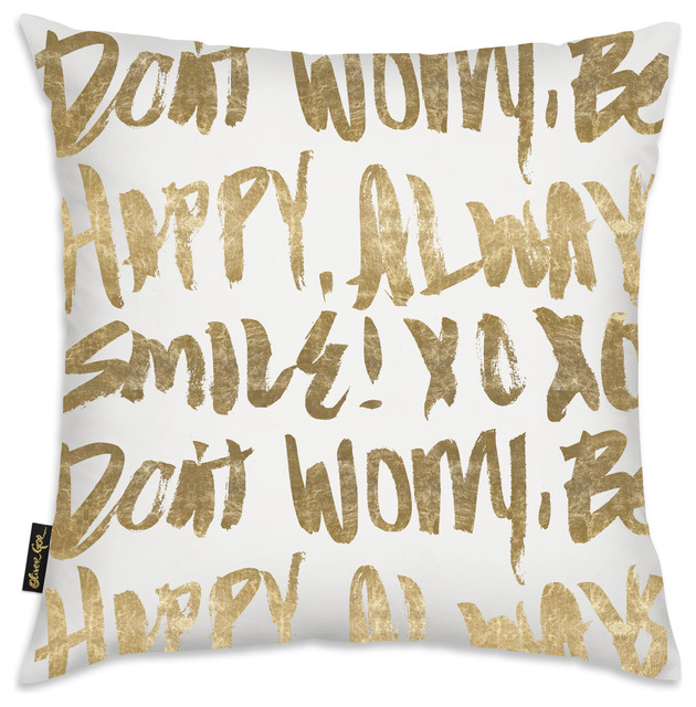 """let&x27;s Be Happy"" Pillow, 18""x18""."
