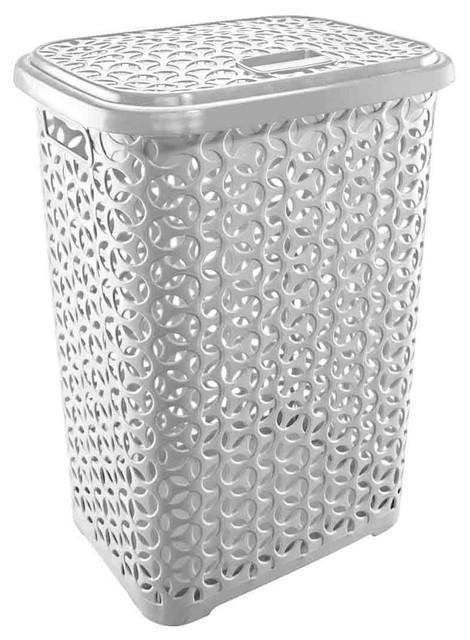 Uniware Hollow Design Clothes Hamper Laundry Basket, White.