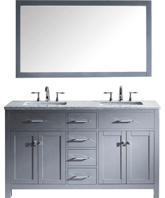 Pembroke Vanity, Square Basins, No Faucets, 60.
