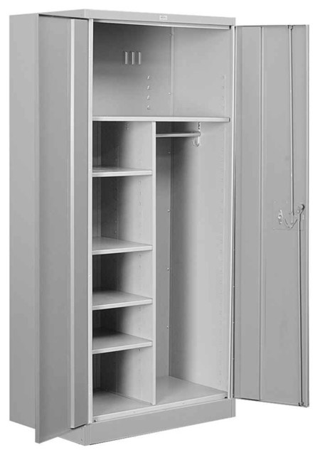 Heavy Duty Storage Combination Cabinet In Gray Finish.