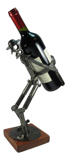 Wine Bottle Holder Don Quixote Carrying Handcrafted Metal Art
