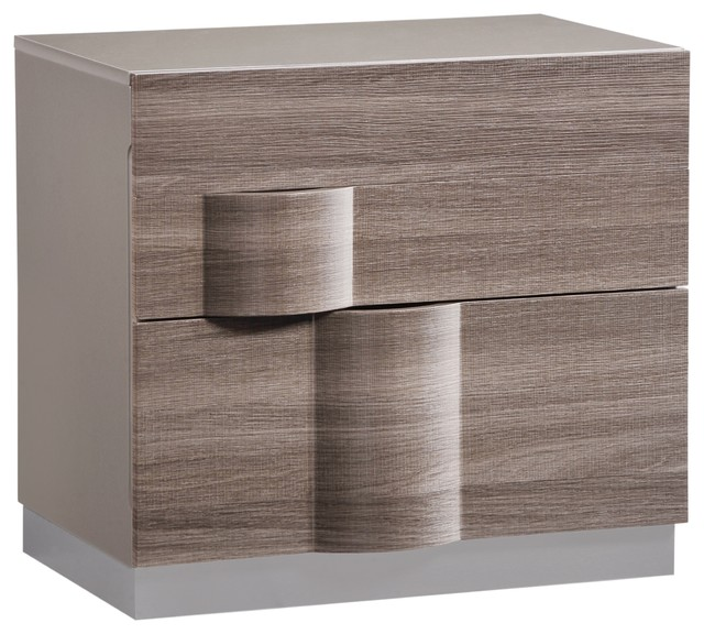Global Furniture Adel Gray High Gloss And Zebra Wood Nightstand  Contemporary Nightstands And