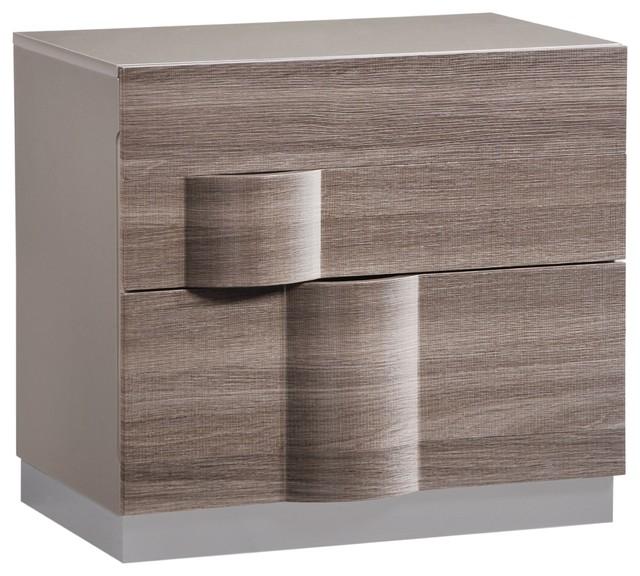 Global Furniture Adel Gray High Gloss And Zebra Wood Nightstand.