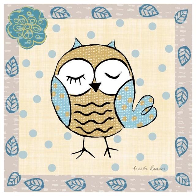 Whimsy Owls II Giclee Stretched Canvas Artwork 18 x 18 Global Gallery Farida Zaman