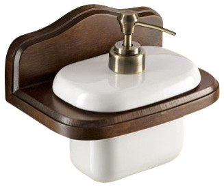 wall mounted porcelain soap dispenser with wood mounting andlotion