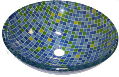 Above Counter Glass Vessel Basin, Mosaic.