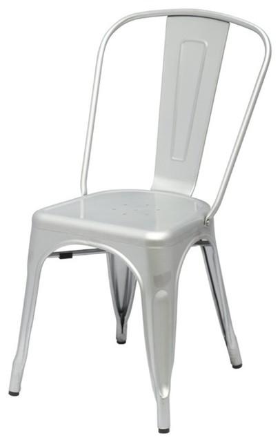 Tolix Style Metal Industrial Loft Designer Silver Cafe Chair
