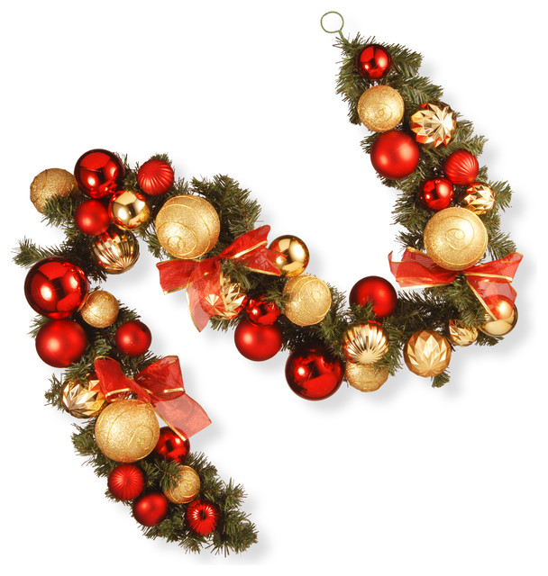 Christmas Ball Garland.6 Red And Green Ornament Garland