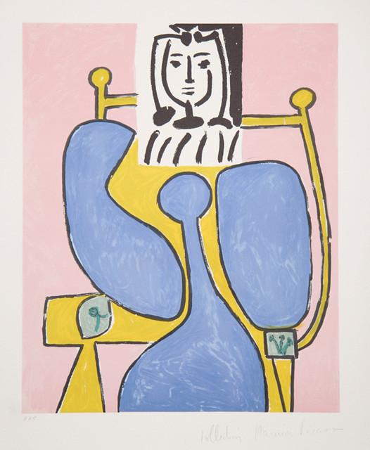 Pablo picasso femme assise a la robe bleue 36 8 lithograph contemporary fine art prints - La chambre bleue picasso ...