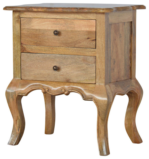 2 Drawer French Design Cabriole Leg Mango Wood Bedside Table